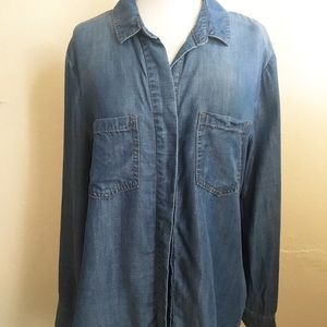 Anthropologie Tops - Cloth & Stone Split-Back Chambray Top Large